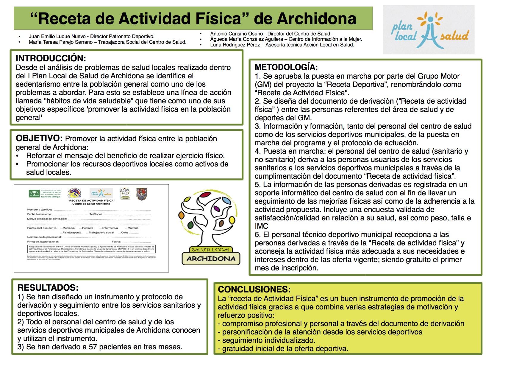 """""""Receta de Actividad Física"""" de Archidona"""