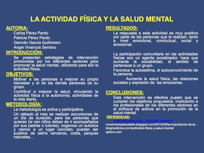 La actividad física y la salud mental