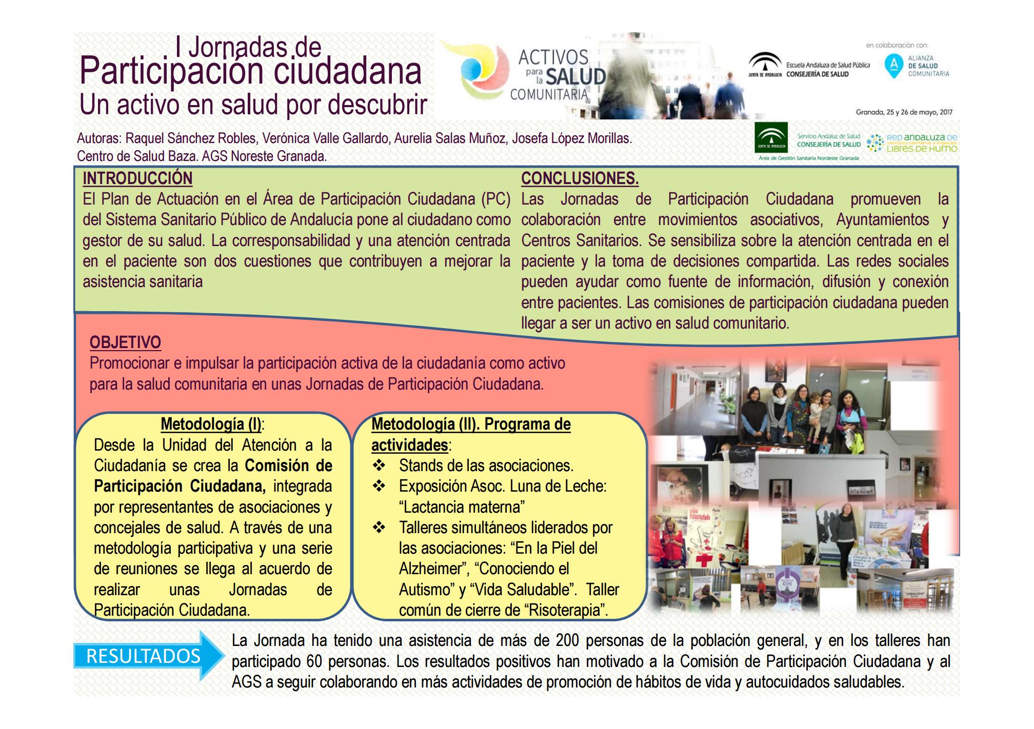I Jornadas de Participación Ciudadana. Un activo en salud por descubrir