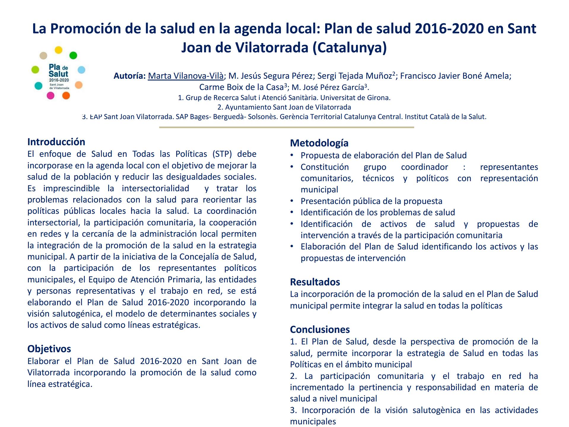 La Promoción de la salud en la agenda local: Plan de salud 2016-2020 en Sant Joan de Vilatorrada (Cataluña)