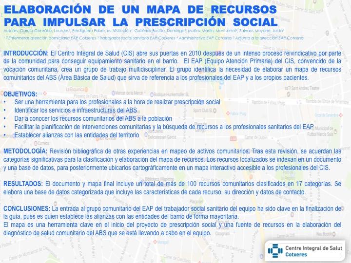 Elaboración de un mapa de recursos comunitarios para impulsar la prescripción social