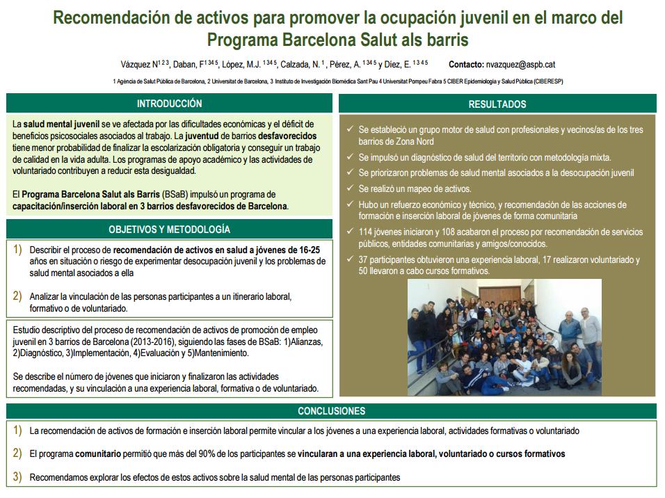 Recomendación de activos para promover la ocupación juvenil en el marco del Programa Barcelona Salut als barris