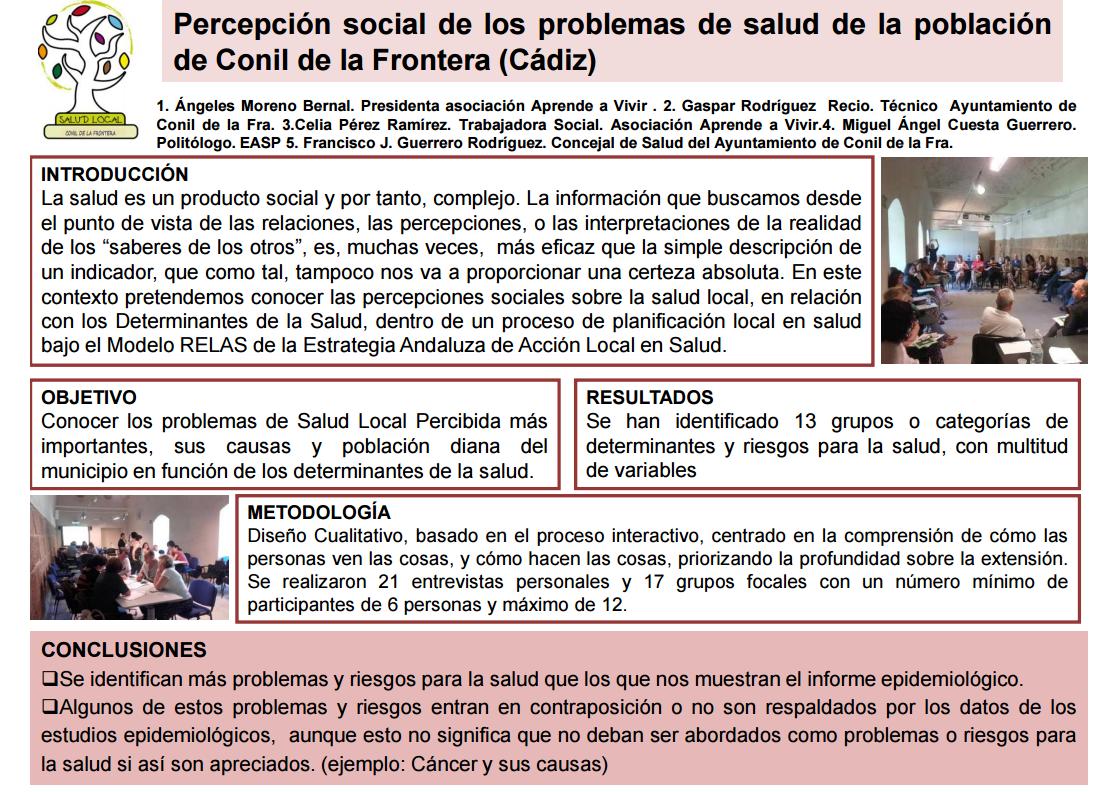 Percepción social de la salud local de la población de Conil de la Frontera (Cádiz)
