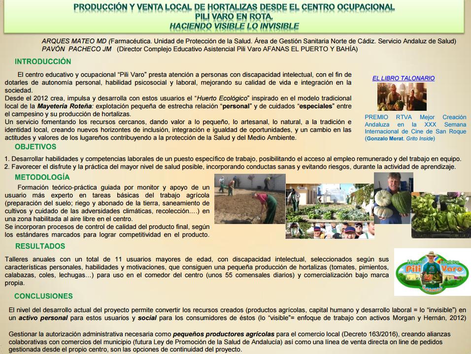 """Producción y venta local de hortalizas desde el centro ocupacional """"Pili Varó-Afanas"""" de Rota. Haciendo visible lo invisible"""